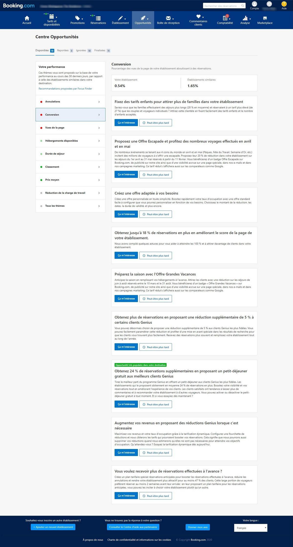 Optimisation booking.com pour un hôtel - centre d'opportunités