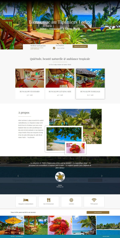 Création site internet Hôtel Tipanier à sainte Marie - Madagascar